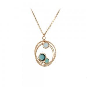 Necklace Pink gold K14 London blue Topaz and Quartz Code 008000