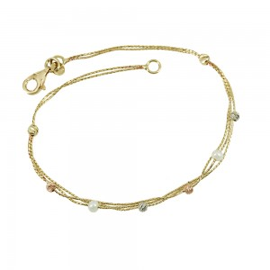 Bracelet  Yellow, pink and white gold K14 with pearls Code 008008
