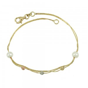 Bracelet  Yellow, pink and white gold K14 with pearls Code 008009