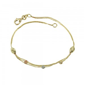 Bracelet  Yellow, pink and white gold K14 Code 008010
