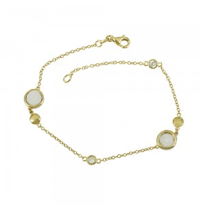 Bracelet Yellow gold K14 Mother of pearl and semiprecious stones Code 008011
