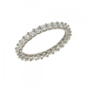 Ring White gold K14 with semiprecious crystals Code 008055