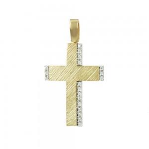 Women's cross Yellow and white gold K14 Code 008068