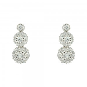 Earrings White gold K14 with semiprecious stones Code 008081