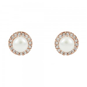 Earrings Pink gold K14 with semiprecious stones and pearl Code 008083