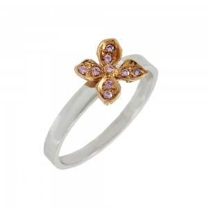 Ring Flower White and pink gold K14 with semiprecious crystals Code 008110