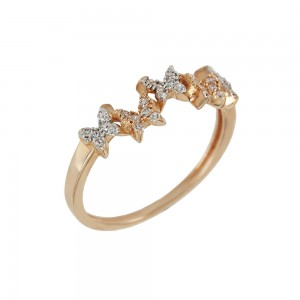Ring Butterfly Pink gold K14 with semiprecious crystals Code 008112