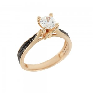 Solitaire ring Pink gold K14 with semiprecious stones Code 008120