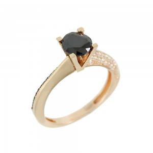 Solitaire ring Pink gold K14 with semiprecious stones Code 008121