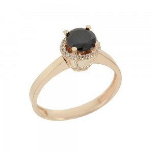 Solitaire ring Pink gold K14 with semiprecious stones Code 008122