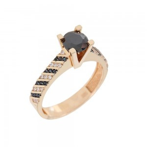 Solitaire ring Pink gold K14 with semiprecious stones Code 008123