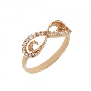 Ring Infinity Pink gold K14 with semiprecious crystals Code 008124