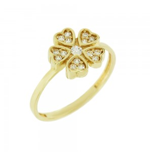 Ring Hearts Yellow gold K14 with semiprecious stones Code 008130