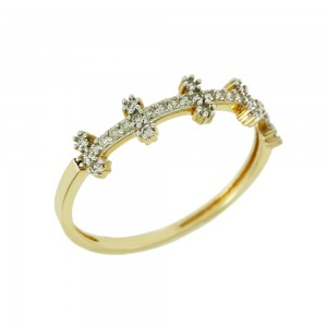 Ring Yellow gold K14 with semiprecious stones Code 008132