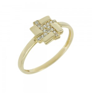 Ring Yellow gold K14 with semiprecious stones Code 008134