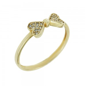 Ring Hearts Yellow gold K14 with semiprecious stones Code 008135