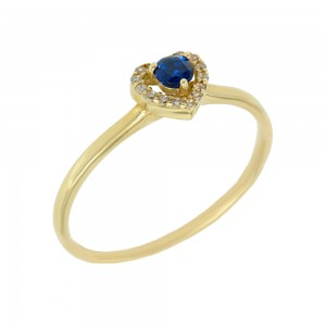 Ring Heart shape Yellow gold K14 with semiprecious stones Code 008139