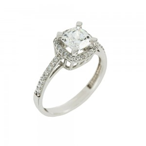 Solitaire rosette ring White gold K14 with semiprecious stones Code 008146