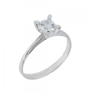 Solitaire ring White gold  K14 with semiprecious stone Code 008147