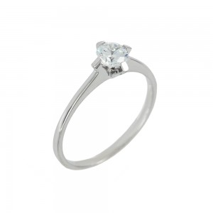 Solitaire ring White gold  K14 with semiprecious stone Code 008148