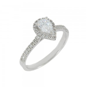 Solitaire rosette ring White gold K14 with semiprecious stones Code 008150