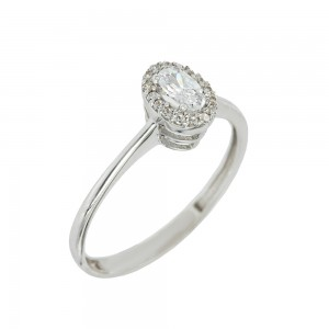 Solitaire rosette ring White gold K14 with semiprecious stones Code 008151