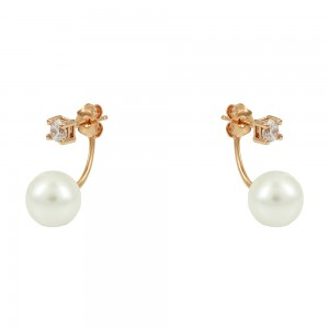 Earrings Pink gold K14 with semiprecious stone and pearl Code 008153