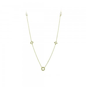 Necklace Yellow gold K9 with pearls Code 008160