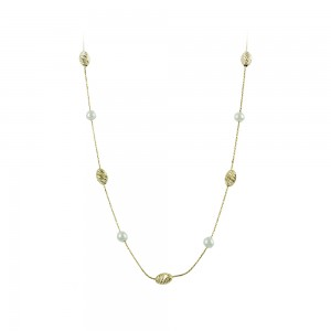 Necklace Yellow gold K14 with pearls Code 008163
