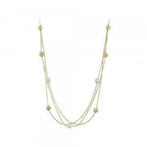 Necklace Yellow gold K14 with pearls Code 008164