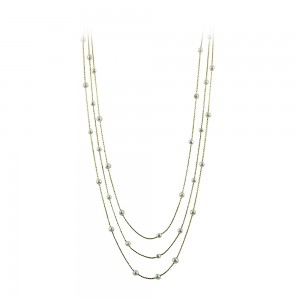 Necklace Yellow gold  K14 with pearls Code 008167