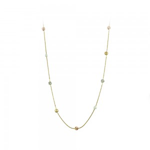 Necklace Yellow, pink and white gold K14 with pearls Code 008168
