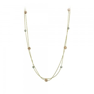 Necklace Yellow, pink and white gold  K14 Code 008169
