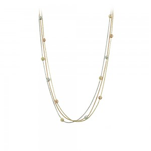 Necklace Yellow, pink and white gold  K14 Code 008170