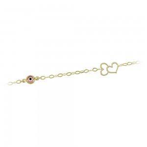 Bracelet for baby Heart and eye motif  Yellow gold K14 Code 008191