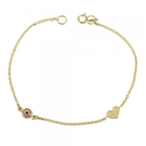 Bracelet for baby Heart and eye motif  Yellow gold K14 Code 008192