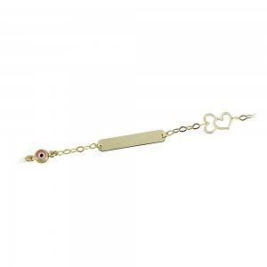 Bracelet for baby Hearts and eye motif  Yellow gold K14 Code 008203