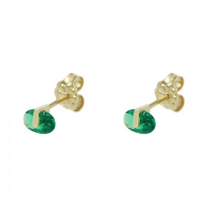 Earrings Yellow gold K14 with semiprecious stones Code 008207