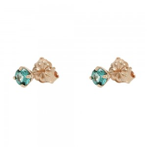 Earrings Pink gold K14 with semiprecious stones Code 008211