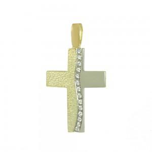 Women's cross Yellow and white gold K14 Code 008331