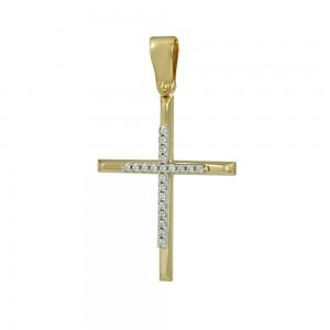 Women's cross Yellow and white gold K14 Code 008369