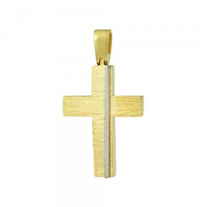 Men's cross med-size Aneli collection Yellow and white gold K14 Code 008372