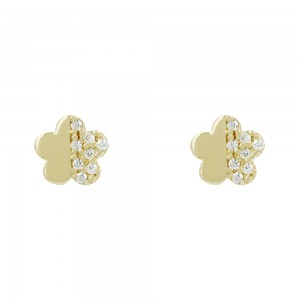 Earrings Flower shape Yellow gold K14 with semiprecious crystals Code 008402