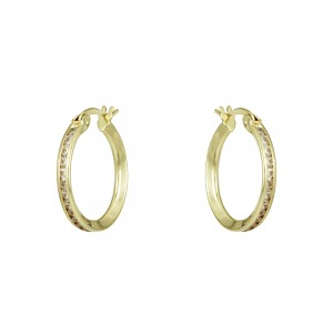 Earring rings Yellow gold K14 with semiprecious crystals Code 008404
