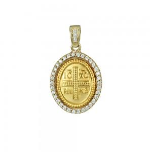 Christian pendant Yellow gold K14 Code 008415