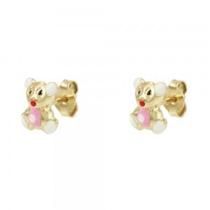 Earrings for baby girl Bear shape Yellow gold K14 Code 008423