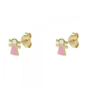 Earrings for baby Girl shape Yellow gold K14 Code 008426