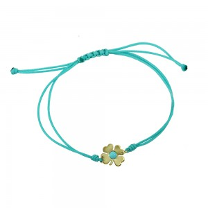 Bracelet for baby Four leaf motif Yellow gold K14 with cross motif Code 008442