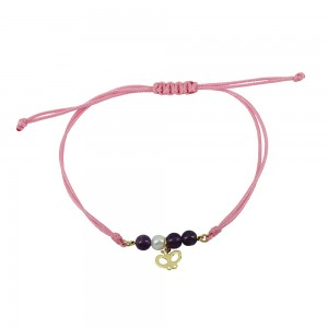 Bracelet for baby girl Butterfly shape Yellow gold K14 with turquoise Code 008443
