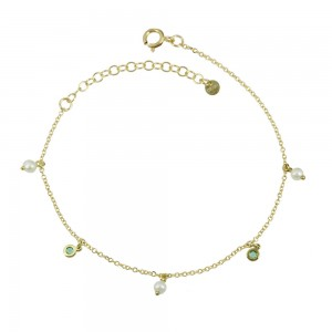 Bracelet Yellow gold K14 with Emeralds and diamonds Code 008452